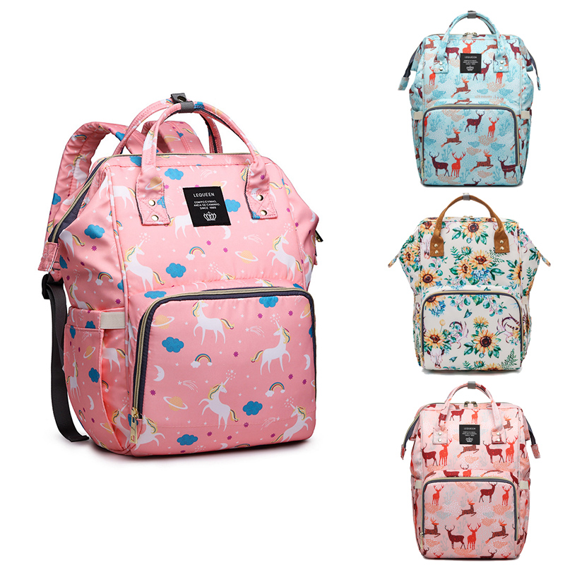 LEQUEEN Mummy Bag Unicorn Mom Diaper Bag Multi-Function Large Capacity Travel Baby Care Bag Feeding Bottle Backpack Stroller Bag