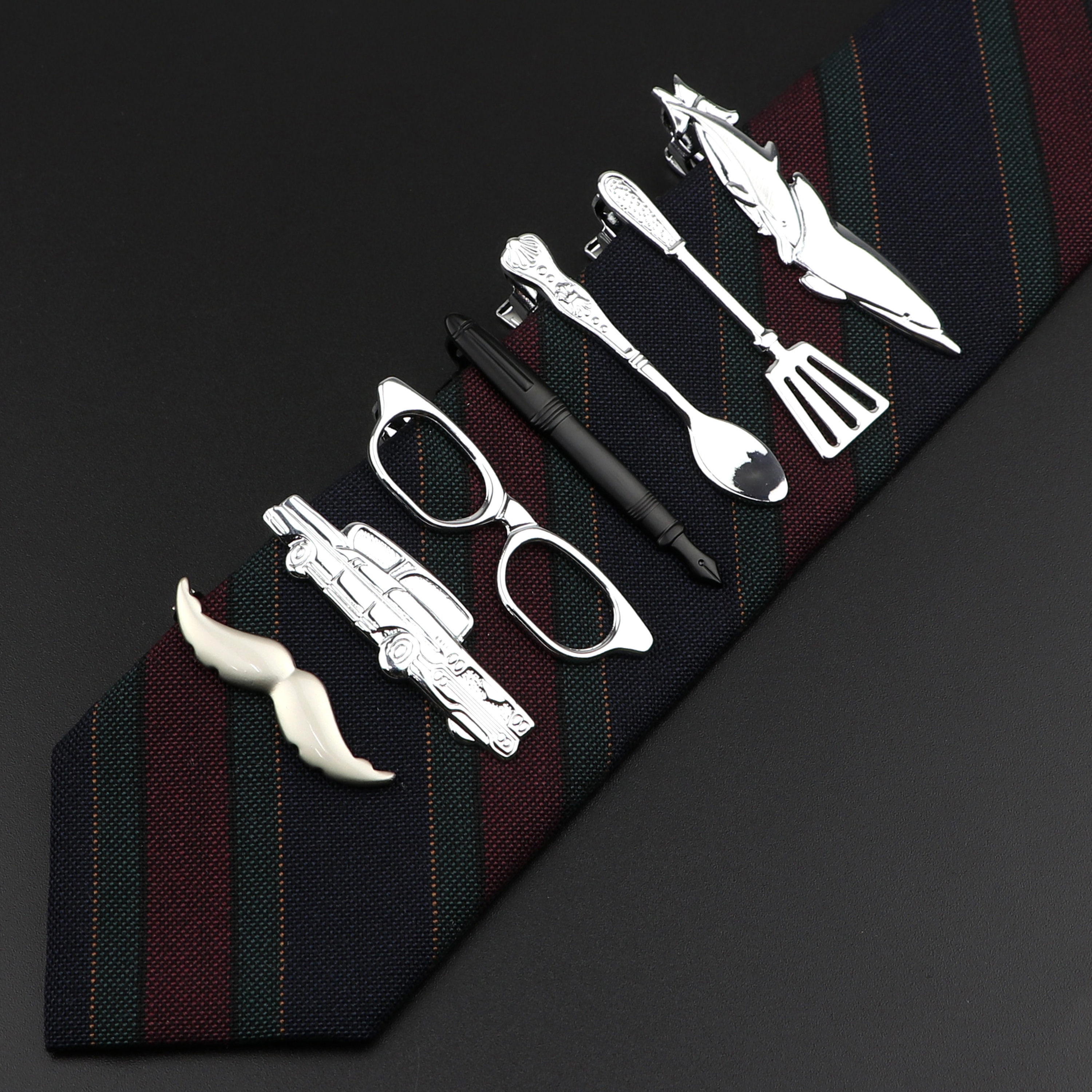 Quality Men's Classic Tie Clip Glasses Fish Airplane Fork Spoon Shape Metal Chrome Stainless Pin Clasp For Business Corbata Gift image