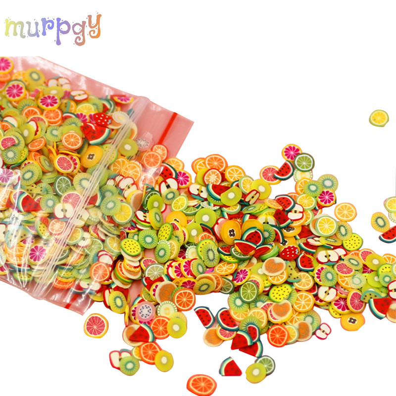 1000pcs Fimo Glue Charms For Fruit Slices Slime Supplies Kit Polymer Accessories Slide Decora Putty Clay Set Kids Toys For Nails