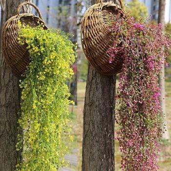 ¡Oferta! 5 tenedores de flores artificiales de vid y hiedra ramas colgando de mimbre planta de simulación otoño hogar boda decoración de pared flores
