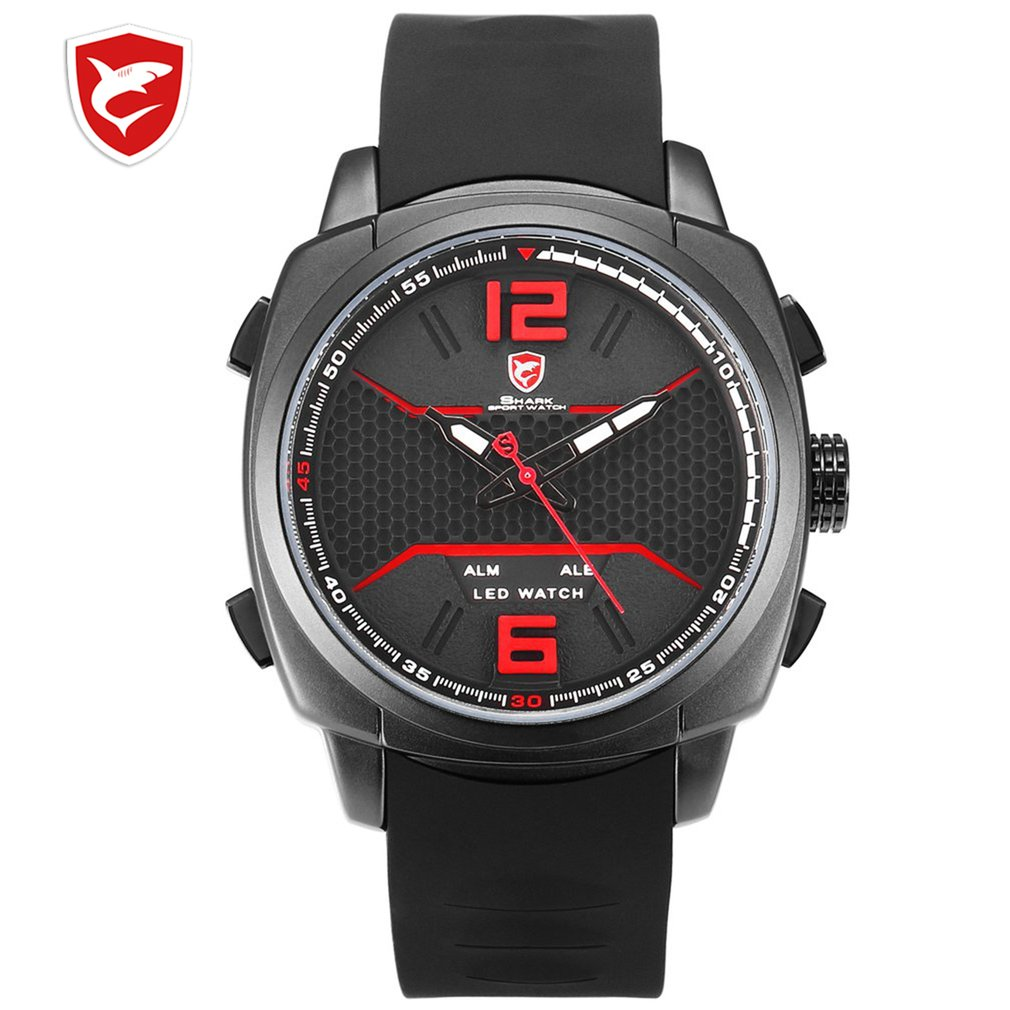 Cool New Whitetip Reef Shark Sport Watch LED Dual Time Zone Date Alarm Top Brand Silicone Quartz Watch Relogio Masculino / SH486|Sports Watches| |  - title=