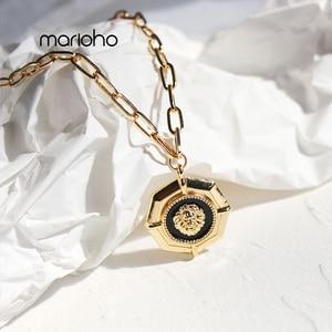 European Fashion Metal Black Drop Glaze Lion Head Long Pendant Necklace Hip-Hop Alloy Geometric Necklace Simple Jewelry Party