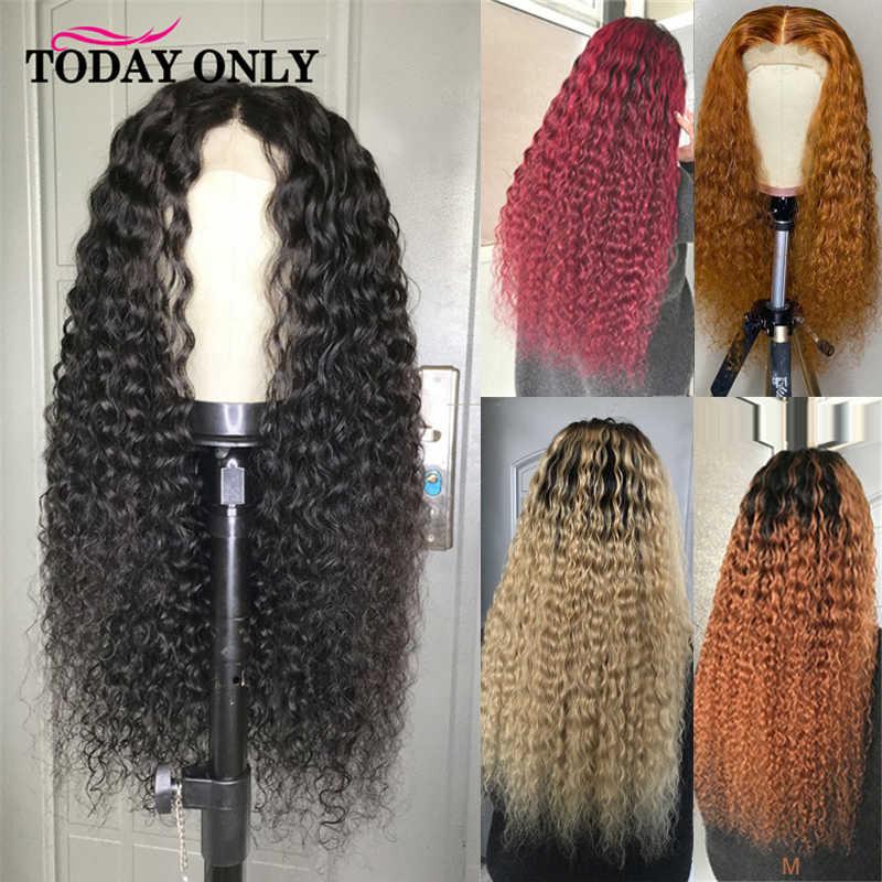 Jahe Keriting Keriting Rambut Manusia Wig Renda Depan Rambut Manusia Wig 613 Rambut Pirang Lace Front Wig Brasil Ombre Lace Wig merendahkan Rambut Remy