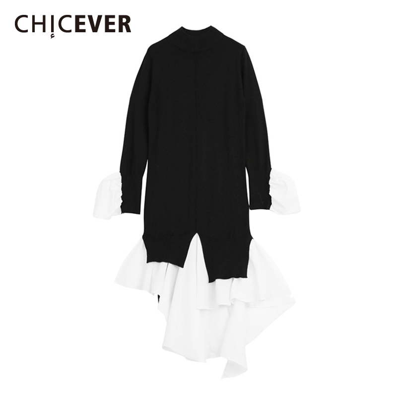 CHICEVER Patchwork Women's Sweater Flare Long Sleeve Hit Colors Irregular Long Knitting Pullover Tops Female 2020 Spring Clothes