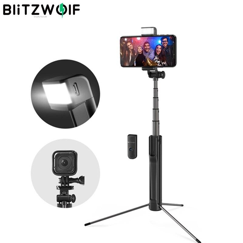 Blitzwolf 3 em 1 Luz de Preenchimento de LED Sem Fio bluetooth Selfie Vara Tripé Extensível Monopé Para iPhone Para Huawei 1/4 Parafuso câmera