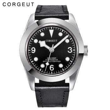 Corgeut, reloj de pulsera de cuero automático militar deportivo de marca de lujo para hombre, carcasa plateada de acero inoxidable, reloj luminoso para hombre