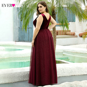 Image 2 - Elegant Evening Dresses Ever Pretty EP07849 Burgundy Sexy Formal Party Gowns 2020 Sparkle Tulle Womens Wedding Party Gown