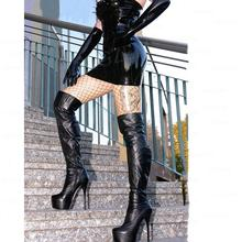 SEIIHEM Women Over Knee High Platform Boots Stiletto High Heels Faux Leather Boots Ladies Shoes Woman Large Size 43 44 47 52