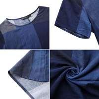 ZANZEA модные женские туфли в клетку летнее платье сарафан с короткими рукавами макси Vestidos женские повседневные платья размера плюс с круглым вырезом плед халат 5