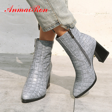 ANMAIRON Ankle Boots for Women Zip Pointed Toe High Square Heel PU Fleeces Checkered Rome Fur Winter Shoes Black Gray Red