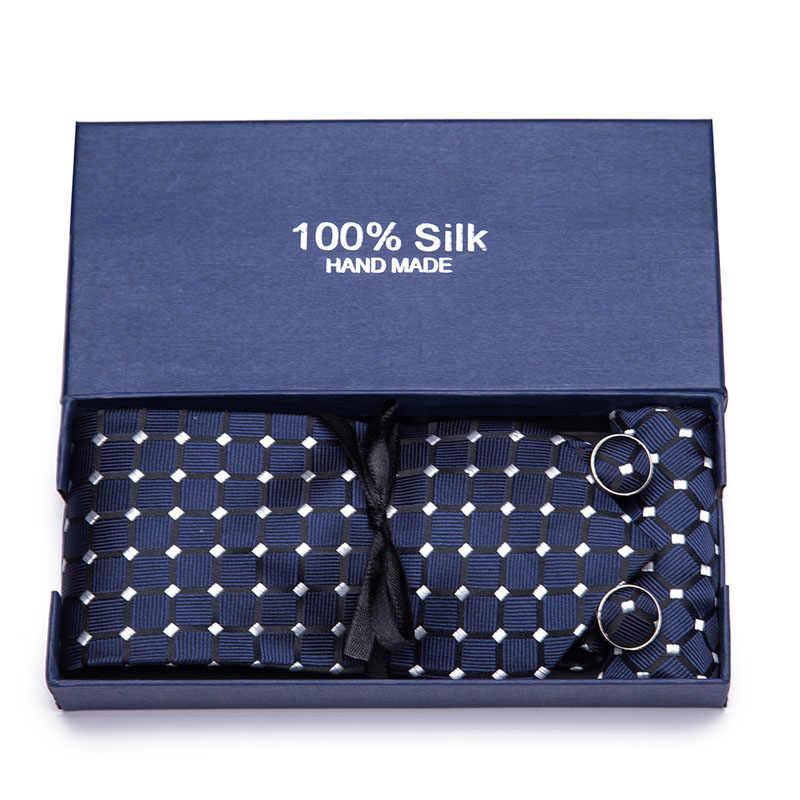 Di nuovo Modo Paisley Floreale Cravatta degli uomini di 7.5 centimetri Cravatta di Seta Fazzoletto Set Blu Rosso Da Sposa Solido Legame Hanky Set contenitore di regalo di Imballaggio