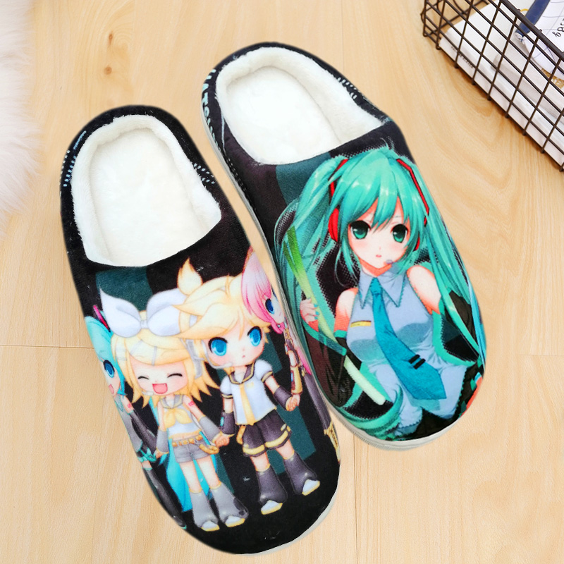Wholesale Hatsune Miku Cosplay Shoes One Piece Dragon Ball Naruto Home Slippers Winter Men Women Couples Plush Shoes Slippers
