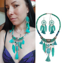 Vintage Tribal Bohemian Ethnic Leather Feather Resin Beads Cotton Tassel Pendant Bib Statement Necklace &  Jewelry Sets