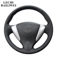 Black Genuine leather Hand stitched Car Steering Wheel Cover for Nissan Versa Note Nissan Tiida Sylphy 2012 2015 Versa 2015 2019