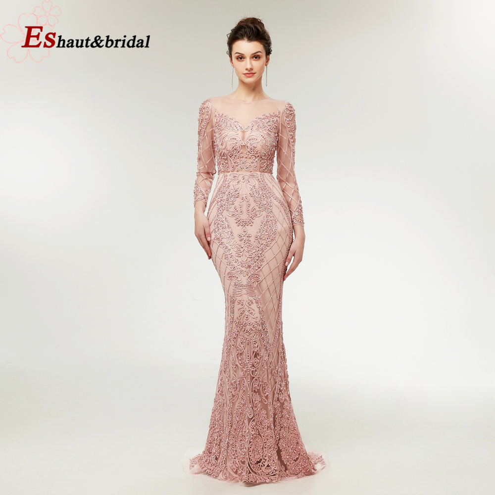 2019 Illusion Mesh Pink Mermaid   Evening     Dress   Full Lace Beading Pearls Long Sleeves Prom Party Gowns