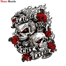 Three Ratels FC403 Chikushodo cool cráneo reír y llorar después etiqueta engomada etiqueta para la motocicleta