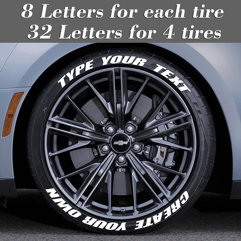 Custom Tire Stickers Letterings 0.75 inch Height Car Stickers Decals 3D Logo Labels Auto Motorcycle DIY Label Letters Sticker
