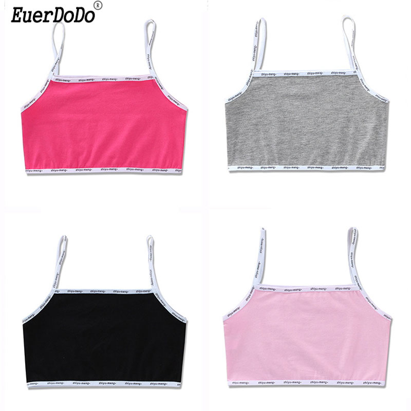 Cotton Kids Underwear Model Children Undershirts Candy Color Girls Camisole School Teenager Bras Kids Singlets 8-16T