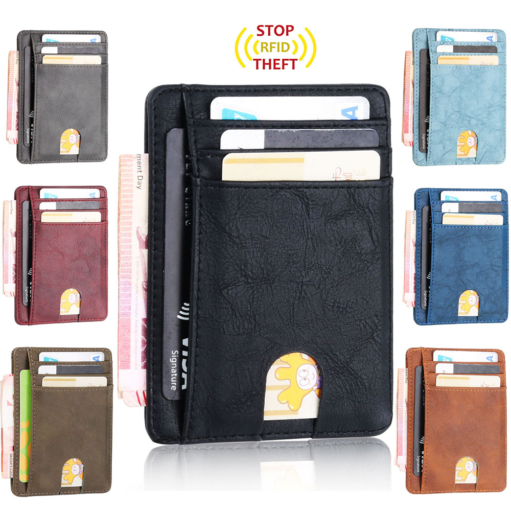 TOURSUIT RFID Blocking Leather Bank Credit Card Holder Travel Business Card Case Cover Slim Front PacketMinimalist Wallet