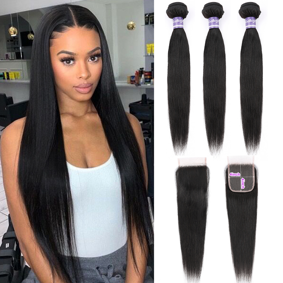 Straight Hair Bundles With Closure Brazilian Hair 3 Bundles With Closure 100% Human Hair Bundles With Closure Non Remy