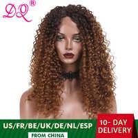 DQ-peluca larga Afro rizada sintética para mujer, peluca con malla frontal, Cosplay de fibra resistente al calor, color marrón, rojo y negro