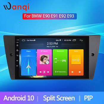 Wanqi Android10 RDS Split Screen Car Radio Player For BMW E90/E91/E92/E93 Multimedia GPS Navi Stereo Audio Head Unit WiFi NO DVD image