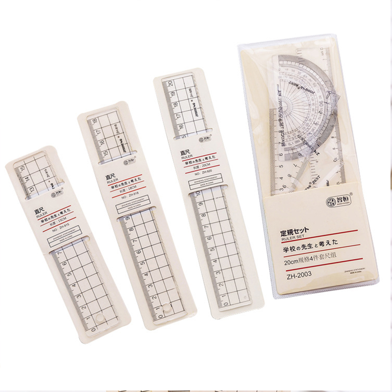 4pcs Grid Ruler Transparent Plastic Ruler School Student Protractor Office Learn Stationery Drawing School Supplies Kids Gift