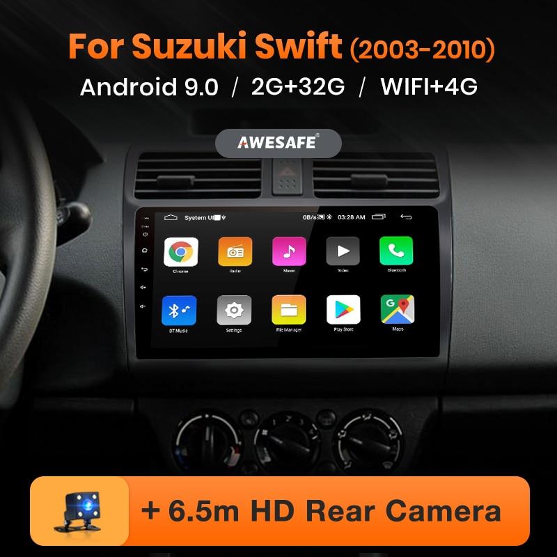 AWESAFE PX9 para SUZUKI SWIFT 2003 2004 2005 2006-2010 Car Radio Multimedia video player GPS Não 2 din Android 9.0 GB + 32 2GB