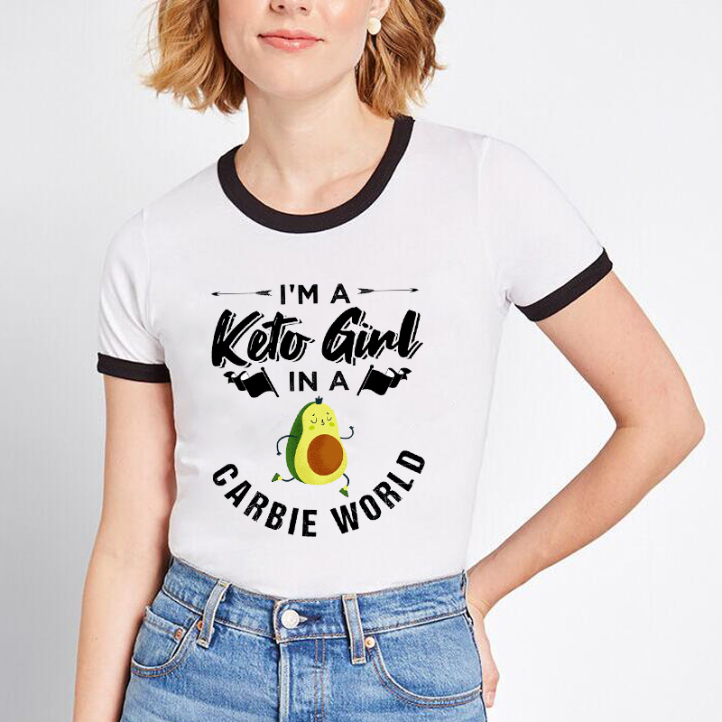 Funny Avocado Carb Lover T Shirt Women I'm A Keto Girl In A Carbie Word Harajuku Keto Queen Aesthetic Clothes Graphic Tees Women