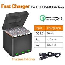 SEASKY cargador rápido 3 en 1 QC3.0, caja de almacenamiento para DJI Osmo, cámara de deportes de acción, batería Lipo