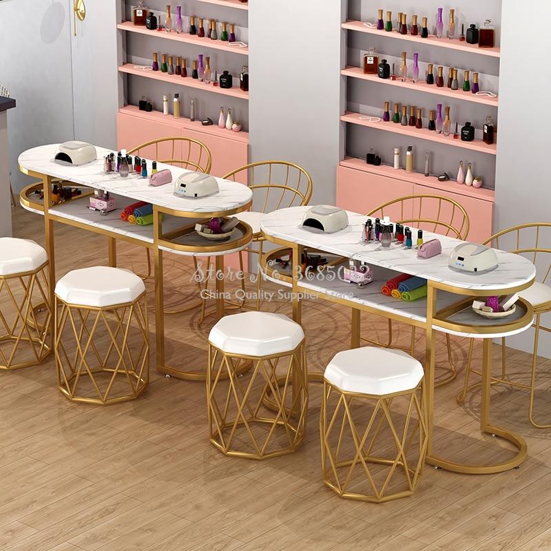 80cm Nordic Japanischen-stil Nagel Tische & Stühle Langlebig Einzelne Goldene Stahl Maniküre Schreibtisch und Stuhl Salon Möbel