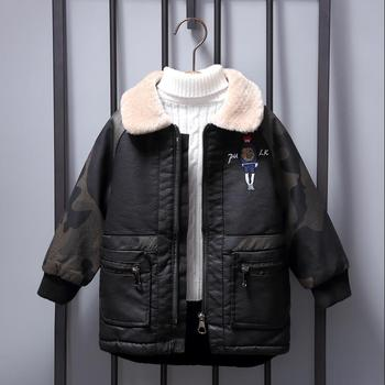 kids clothes boys Plus velvet warm PU leather jackets Winter New children lapel thicker trench Camouflage print Kids Coat Y2560