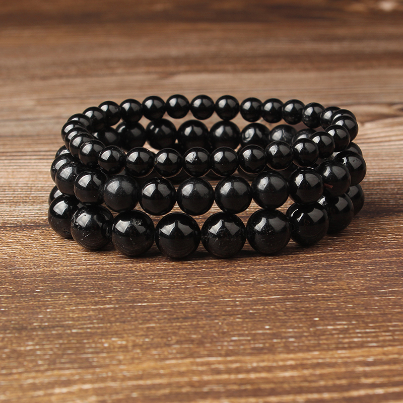LanLi 8mm natural Jewelry Black fashion tourmaline stones loose beads bracelet be fit for Glamour rmen and women amulet