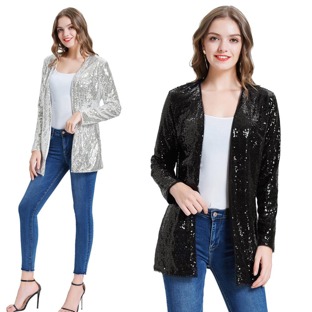 Kate Kasin Women Sparkle Sequin Coat Jacket Stunning Open Front Long Sleeve Cardigan Outwear Fashion Sequins Streetwear KC000075