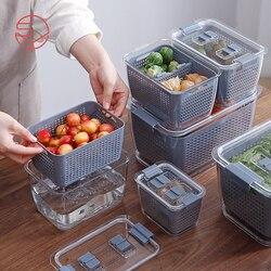 Многофункциональный ящик для хранения, кухонный холодильник, контейнер для сохранения свежести, пластиковая корзина для слива овощей и фру...
