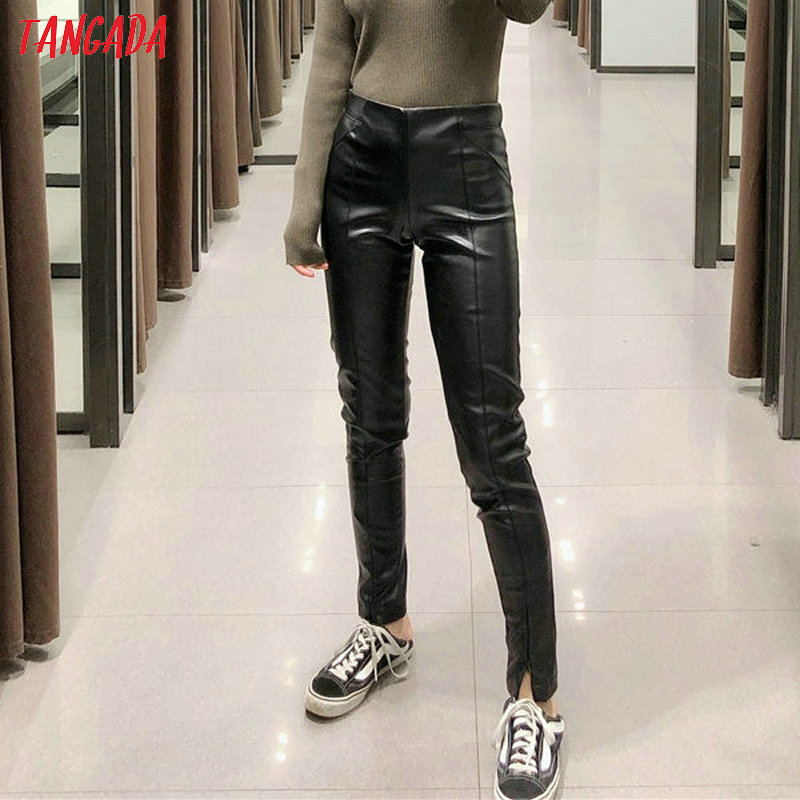 Tangada women white skinny PU leather pants stretch zipper female autumn winter pencil pants trousers 6A04 29
