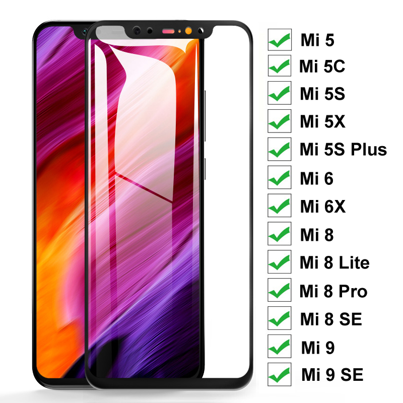 Full Cover Protective Glass On The For Xiaomi Mi <font><b>8</b></font> <font><b>9</b></font> SE <font><b>8</b></font> Lite Pro Mi <font><b>5</b></font> 5C 5X 5S Plus 6 6X Tempered Glass Screen Protector Film image