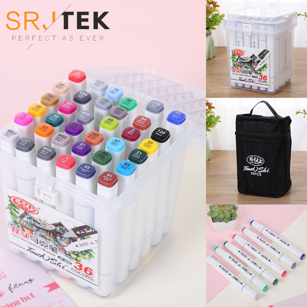 12/24/36/48/60/80 Color Art Drawing Markers Pen Set Alcohol Based Marker Dual Headed Tips For Artist Manga Drawing Marker Pen title=