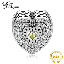 Jewelrypalace 925 Sterling Silver Classic Gold Murano Glass Cubic Zirconia Openwork Heart Beads Charms Fit Bracelets Best Gifts