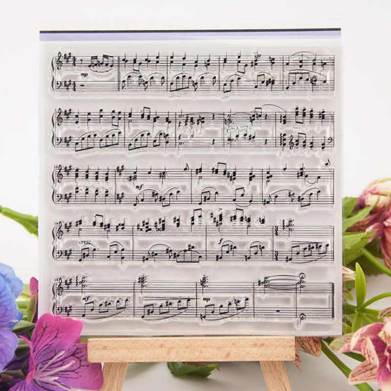 1 Pcs Cute 10x10cm Music Notes Symbol Transparent Clear Silicone Stamps for Seal DIY Scrapbooking Photo Album Decorative Stamps
