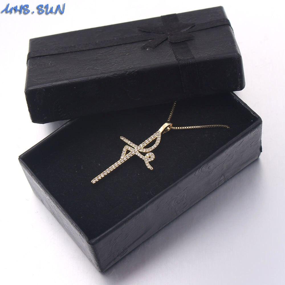 MHS.SUN Riligion FE Belief Cross Pendant Women Mosaic AAA CZ Zircon Necklace Gold Color Chain Necklace For Vintage Jewelry