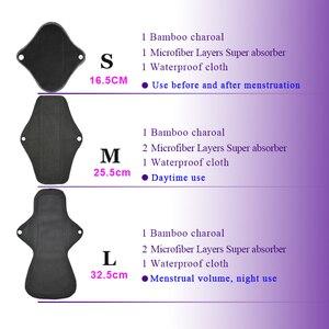 Image 4 - 5 pçs lavável pano de toalha sanitário almofadas menstruais reutilizáveis almofada sanitária absorvente reutilizável pano de carvão de bambu almofadas menstruais