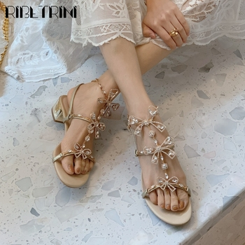 RIBETRINI Sweet Girl Open Toe Flat Shoes Butterfly Knot Women Sandals Rhinestone Party Casual Handmade Fashion Sandals