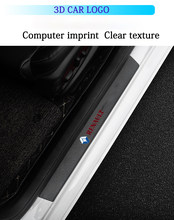 4pcs car door sticker sill plate carbon fiber leather for Renault megane 2 clio duster fluence captur logan 2021 accessories
