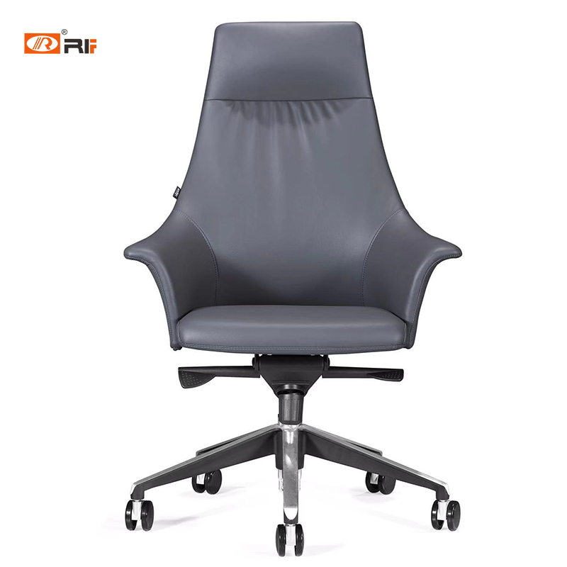 Grey Red Leather Swivel Liftable Office