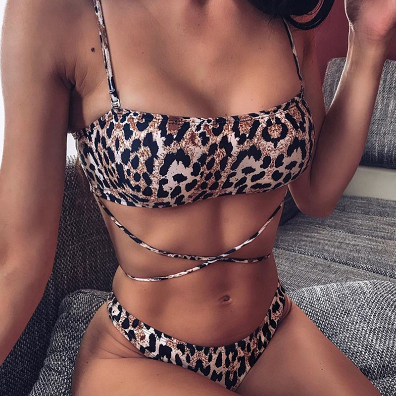 Aartiee Brazilian Bikini 3 Pieces Leopard Print High Cut Swimsuit Female Sexy Mesh Crop Top Swimwear Women 2019 String Biquini