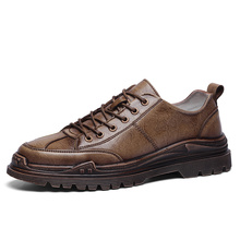 Retro Men Casual Shoes Flats Lace Up Male Suede Oxfords Mens Leather Shoes Man Footwear Zapatillas Hombre  3#15/15D50 jackshibo fashion mens shoes casual artificial leather thick soled male shoes footwear size 39 44 lace up zapatillas hombre