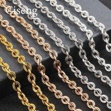 1 pc/lote 50cm * 8mm duplo laço corrente corda link corrente cadeias em massa sliver kcgold colares correntes para jóias masculinas diy