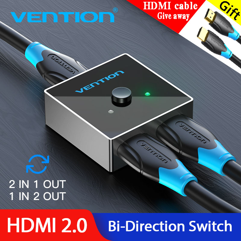Vention HDMI Switch,Bi-Direction HDMI Switch Splitter 1/×2//2/×1,HDMI Splitter Support 4K@60Hz 3D 1080P for Xbox PS4 HDTV Roku Blu-Ray Player