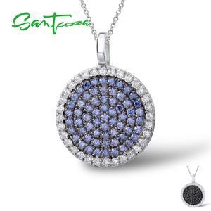 Image 4 - SANTUZZA Silver Jewelry Set For Women Blue Black CZ Round Circle Ring Earrings Pendant Set 925 Sterling Silver Fashion Jewelry